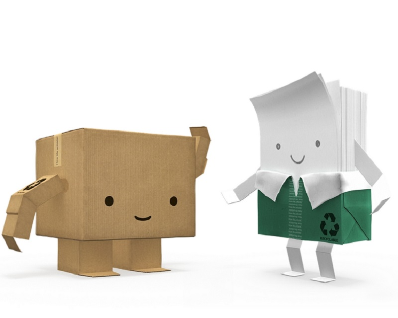 box and paper characters